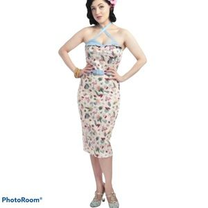 Collectif Ginger Flamingo Wing Bust pencil dress S